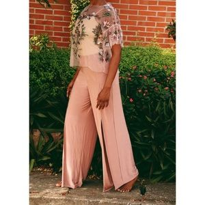 Missguided Peach Pink Front Split Slinky Pant